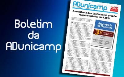 boletim home — Assembleia dos professores propõe reajuste salarial de 8,36% — ADunicamp