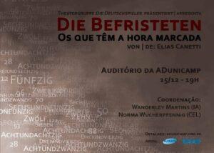 """Teatro na ADu   Theatergruppe """"Die Deutschspieler"""" apresenta: Die Befristeten / Os que têm a hora marcada"""