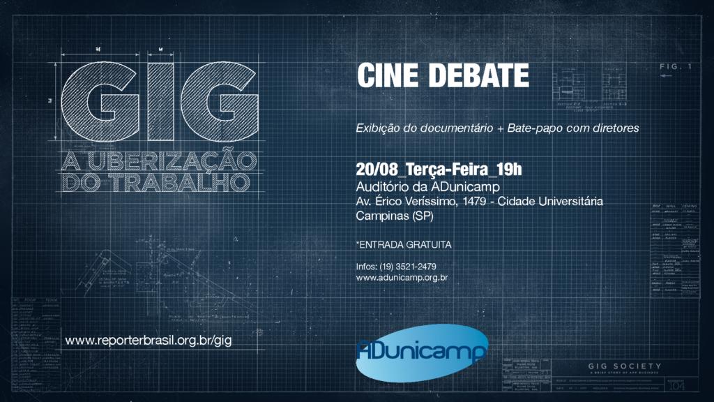 Flyer Adunicamp 20 08 — Cineclube com Debate | GIG - A Uberização do Trabalho (20/08) — ADunicamp