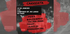 Movimentos organizam manifestações, neste sábado, 23, pela vacinação e pelo auxílio emergencial
