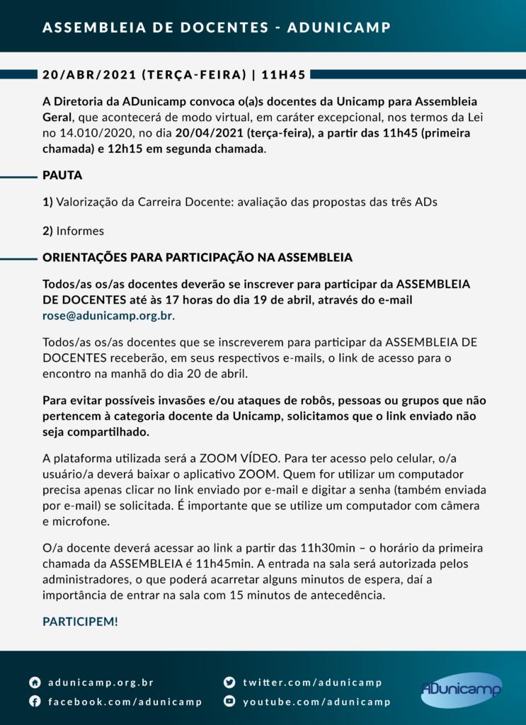 Convocatória Assembléia Geral - 20/04/2021