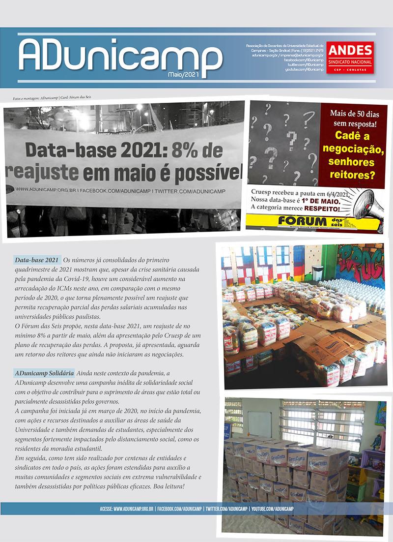 Boletim ADunicamp Maio 2021 Data Base Solidariedade interna — Boletim da ADunicamp | Maio 2021 | Data-base 2021 e Solidariedade. Confira! — ADunicamp