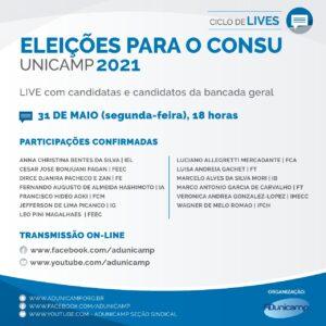 Live Eleicoes Consu Unicamp 2021 bancada geral — ELEIÇÕES PARA O CONSU DA UNICAMP - 2021 | LIVE com candidatas e candidatos da bancada geral — ADunicamp