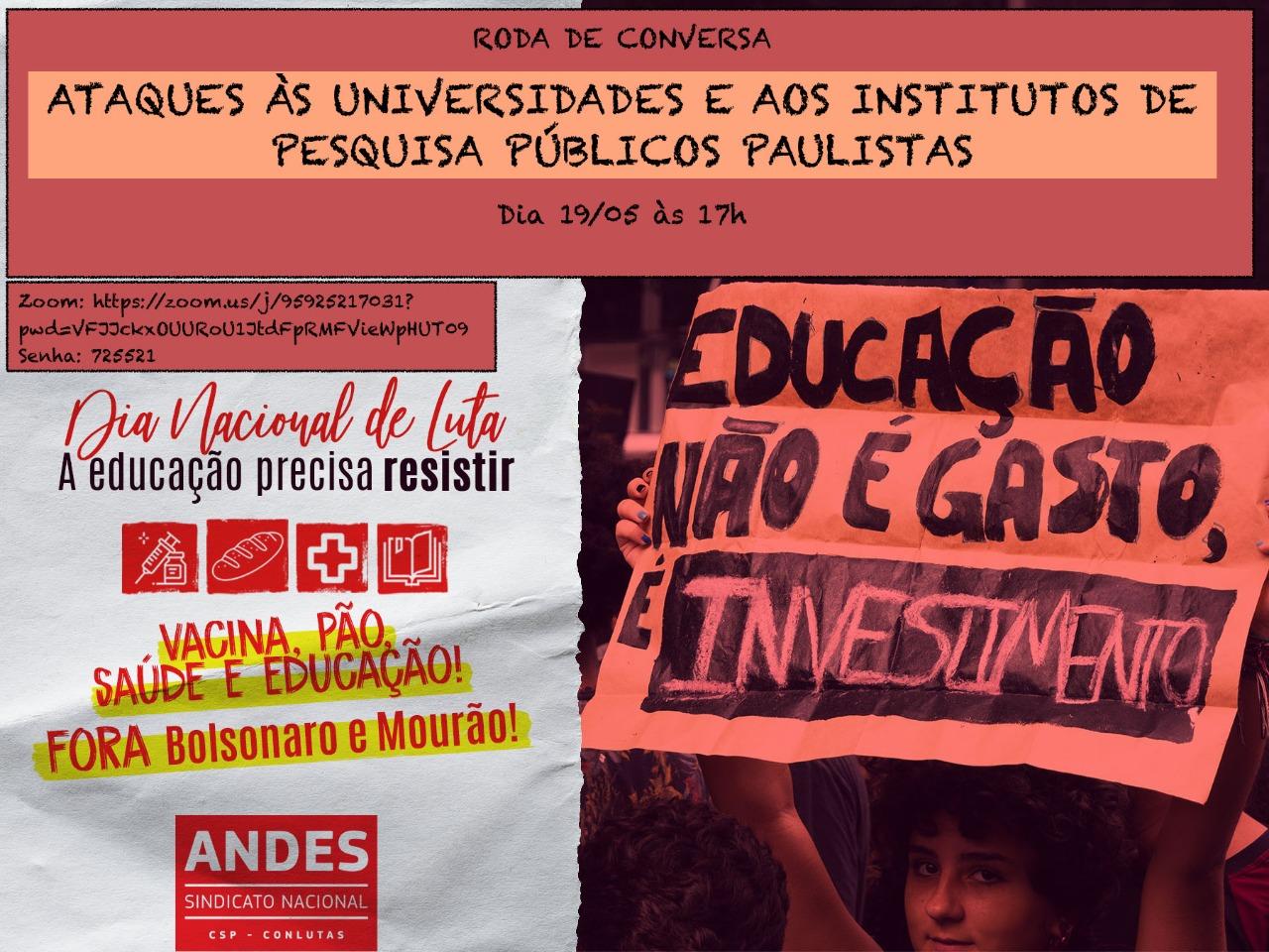Roda de conversa 19maio2020 — A EDUCAÇÃO PRECISA RESISTIR — ADunicamp