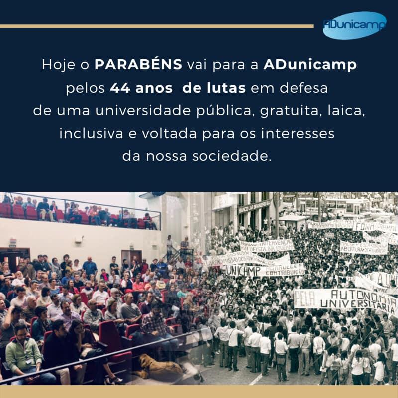 adu 44 Anos — 12 de maio: ADunicamp 44 Anos — ADunicamp