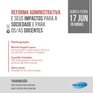 Vermelho e Escala de Cinza Foto Viagem Instagram Post — Reforma Administrativa e seus Impactos para a Sociedade e para os/as Docentes — ADunicamp